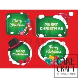 Φύλλο ζαχαρόπαστας Ετικέτες Χριστούγεννων 1023