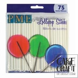 Λευκά Χάρτινα Sticks PME για Cake Pops & Γλυφιτζούρια 9,5εκ. 75τεμ