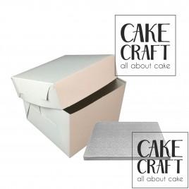 Δίσκος Τούρτας τετράγωνος Ασημένιος Πάχος 13mm. (8'')20,3εκ με κουτί 20,3εκ.